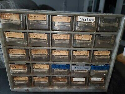 Vintage 25 Drawer Blue Akro Mills Tool Metal Storage Cabinet Organizer Read