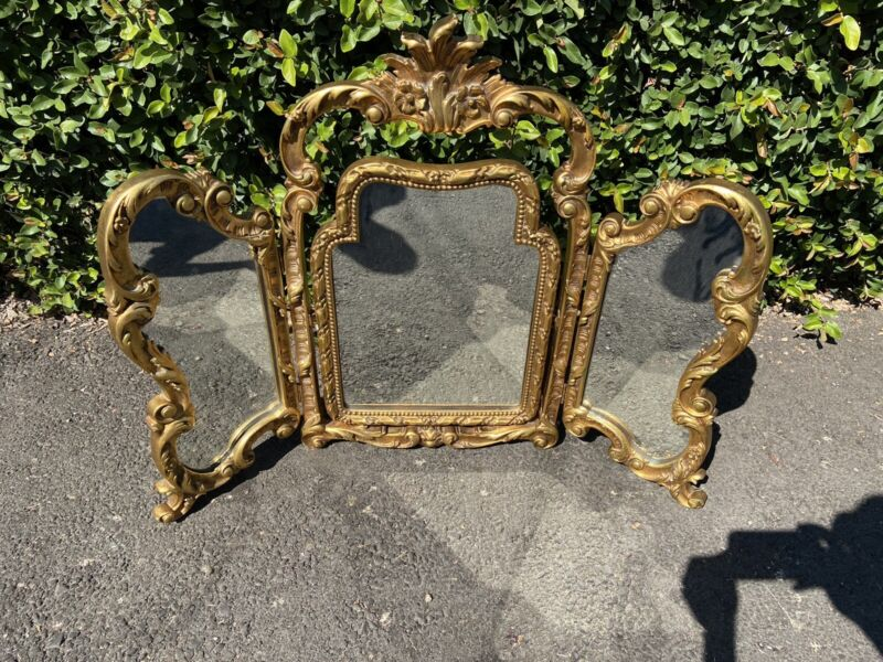 Stunning Gold Colored Vintage TRI FOLD MIRROR Italian