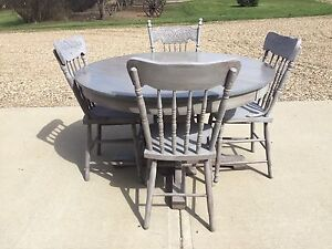 Antique Wood Table and 4 Chairs