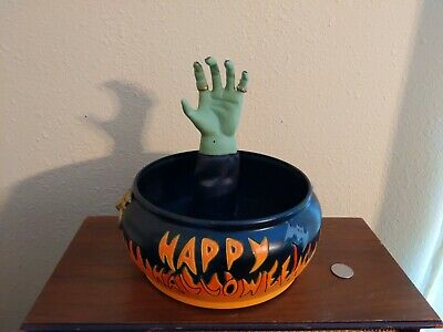 VTG Gemmy Halloween Candy Bowl, Animated Talks, sensor Witch Hand Moves Prop