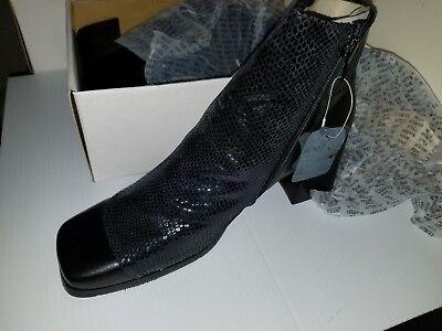 Peerage Women's GENUINE Leather WIDE WIDTH Designer Ankle Boots- BLACK -B5931S (Boots Wide Width)