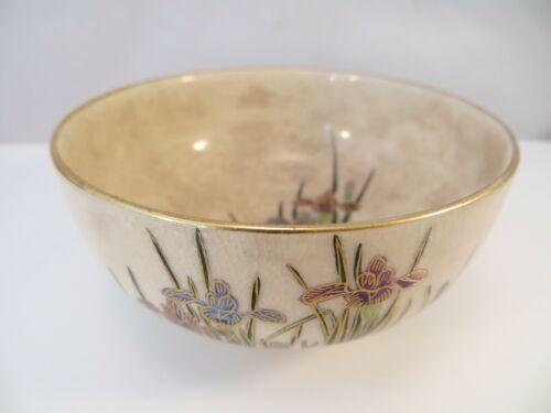 Antique Japanese Kyo Satsuma Tea Cup Bowl Iris Flowers Japan