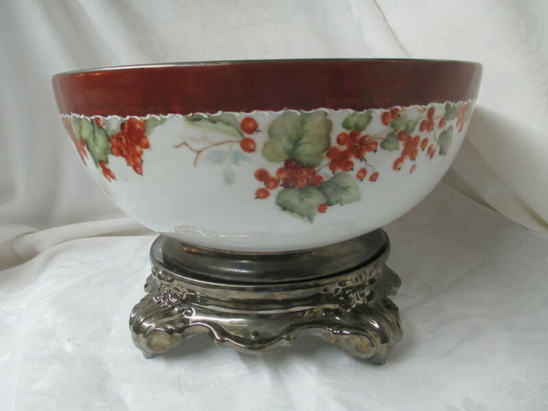 Antique porcelain large Centerpiece Punch Bowl w/ Stand hand painted Currants