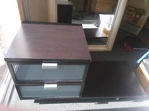 Chocolate brown double draw bedside table on wheels Joondalup Joondalup Area Preview