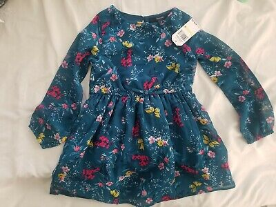 Adorable Little Girls Long Sleeved Floral Nautica Dress, Size 4T, NWT