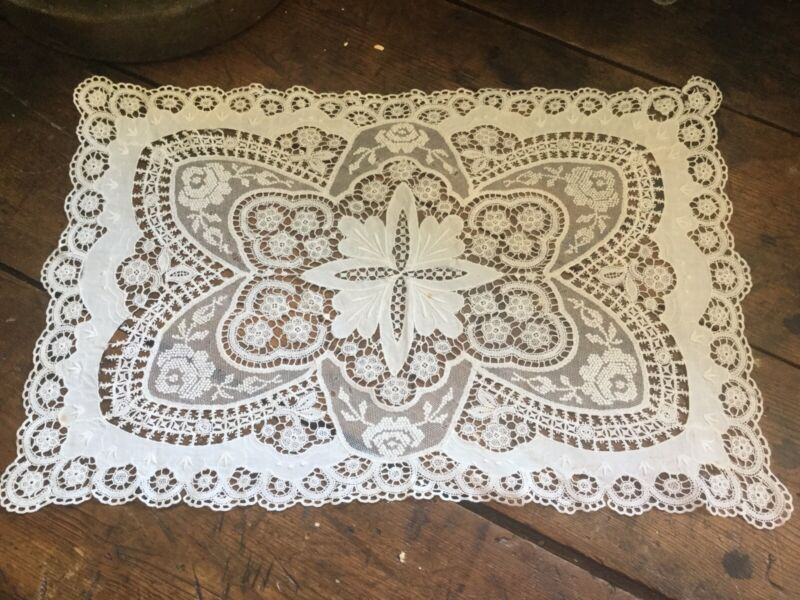 Antique Vintage Cotton & Lace Table Runner Doily White with Floral Motif