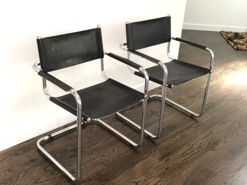 Mid Century Modern Pair Of Cantilevered Tubular Chrome Armchairs By Mart Stam