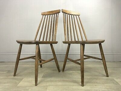 2 Retro Vintage Stick Back Kitchen Dining Chairs AP80