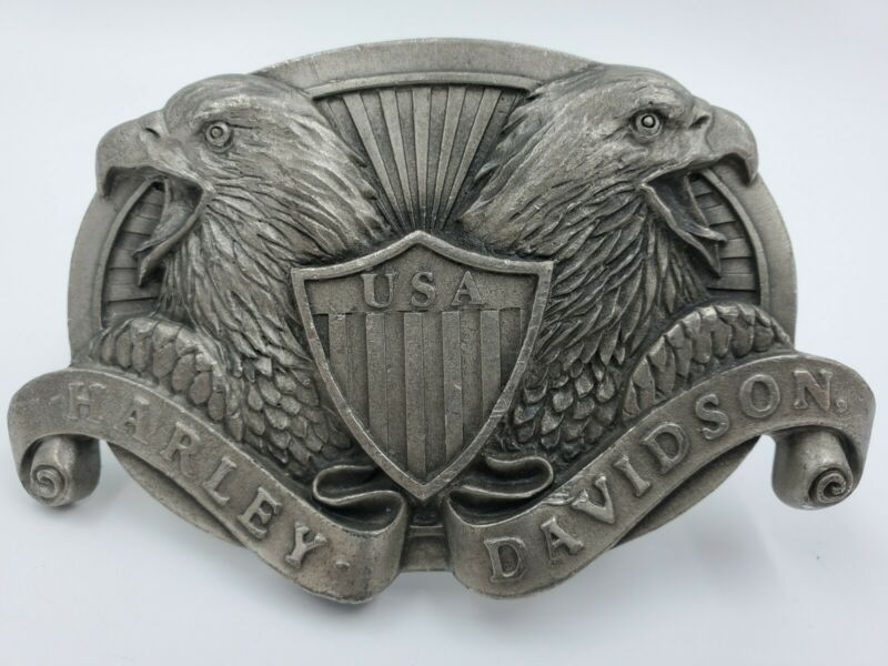 Rare HARLEY-DAVIDSON 1992 Fine Pewter Double Eagle USA Vintage Belt Buckle