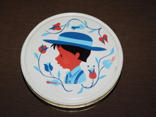 """VINTAGE 10"""" ACROSS AMISH COUNTRY BOY WITH HAT FLOWERS ROUND TIN  *EMPTY*"""