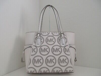 NWT AUTH MICHAEL KORS VOYAGER E/W SIGNATURE LEATHER TOTE BAG-$228-OPTIC WHITE