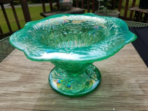 Fenton Carnival Glass Limited Ed. Green Opalescent Christmas Compote