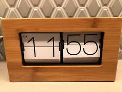 Boxed Flip Clock XL Bamboo Retro Large Wood Stylish Designer Mid Century Modern