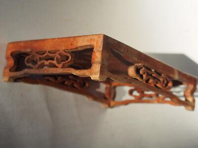 Antique Chinese Carved Wood Sandalwood Rectangular Jar Vase Planter Stand  7