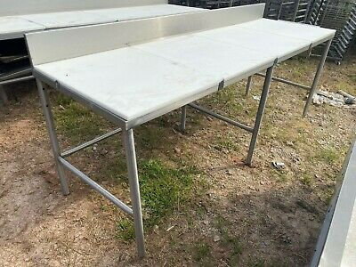 Heavy Duty 96 X 30 Commercial Stainless Steel Kitchen Polytop Cutting Table