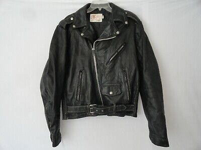 VINTAGE EXCELLED LEATHER MOTORCYCLE BIKER ZIP JACKET EARLY 80'S for sale  Shipping to India
