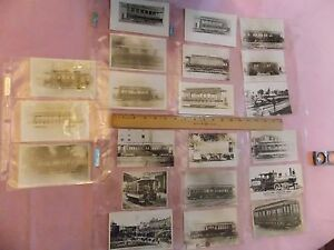 21-1800s-1900s-Brooklyn-NYC-Trolley-Subway-Roster-Post-Card-Size-Photos