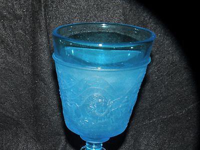 WESTWARD HO FROSTED BLUE GOBLET PATTERN GLASS WESTMORELAND