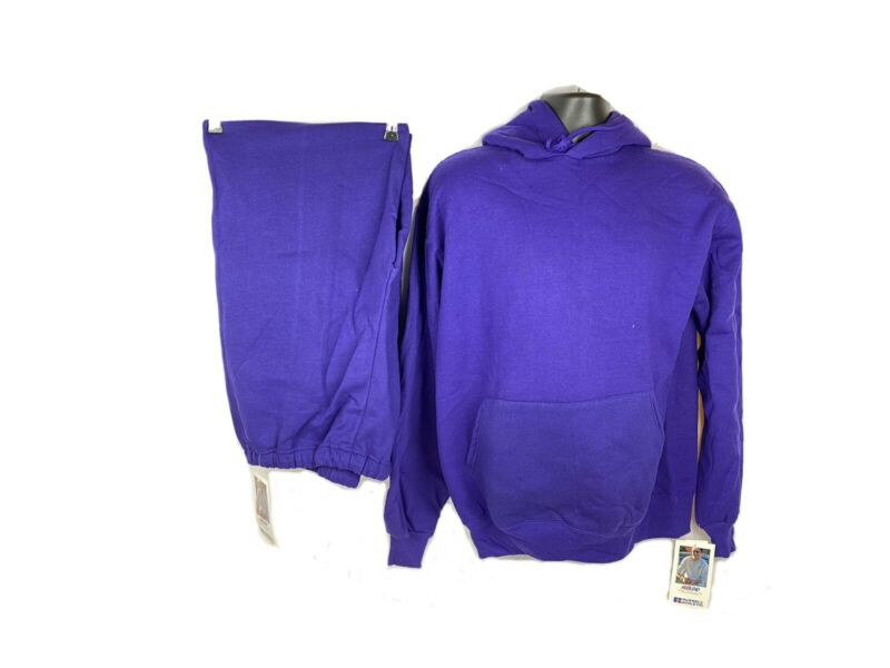 Vintage Sweat Outfit Hoodie Sweatpants Purple NWT Russell Athletic 90s NuBlend