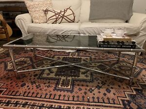 Vintage Chrome Faux Bamboo Coffee Table