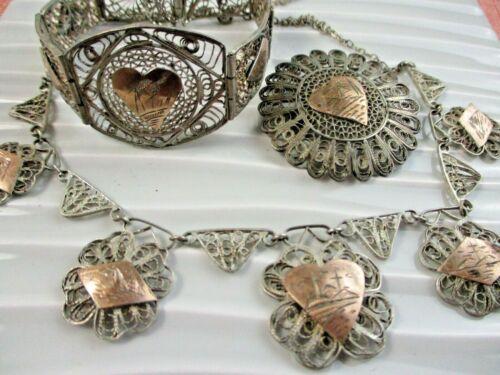 EGYTIAN REVIVAL Sterling Filigree Etched Bracelet Necklace Brooch SET Vintage