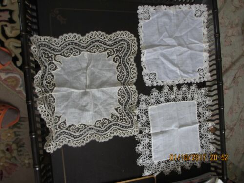 ANTIQUE LOT OF (3) LINEN HANKIES SPECIAL OCCASION AMAZING HAND DONE NEEDLEWORK!!
