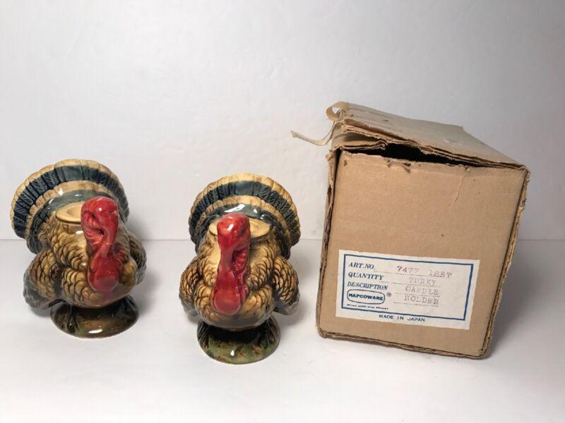 Vintage Napcoware Ceramic Turkey Taper Candle Holder Napco Set w/ Original Box