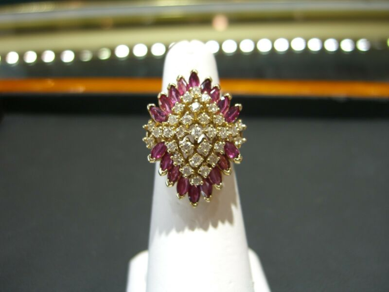Fine Estate Womens 14 Karat Yellow Gold Ruby And Diamond Ring Size 7.5 Wow!!!!