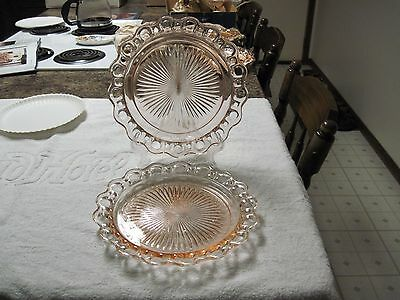 "Old Colony ""Lace Edge"" depression glass pink dinner plates (2)"