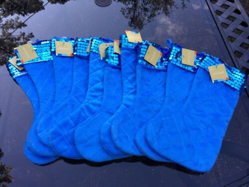 "NEW 10 13"" BLUE SPARKLE QUILTED VELOUR CHRISTMAS 🎄 STOCKING"