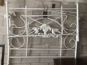HIGH QUALITY SOLID WHITE WROUGHT IRON HEAD AND FOOT BOARD