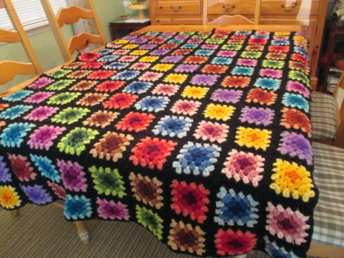 Vtg Granny Square Afghan Throw Blanket Multi Colorful on Black 43 x 60 As Is