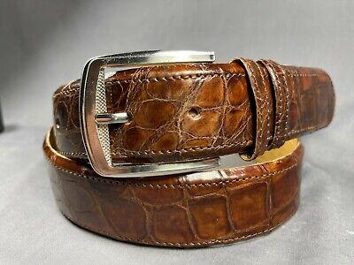 Vintage Genuine Leather Brown Flower Pattern Embossed 1.5 Inch Belt ~ CUSTOM SIZING maximum 37