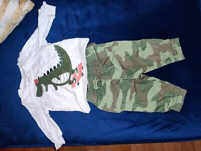 Carters Baby Boys 2-Piece Alligator shirt & Camo Pants Set Newborn