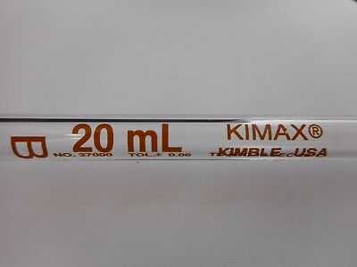 Kimble Kimax Glass Td 20ml 0.06 Reusable Class B Volumetric Bulb Pipette 37000