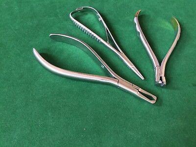 Dental Orthodontic Pliers 3 Pcs Set Mathieu Distal End Cutter Tc Bracket Remover
