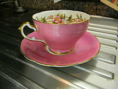 ADDERLEY PINK BLOSSOM HOT PINK TEA CUP AND SAUCER VINTAGE
