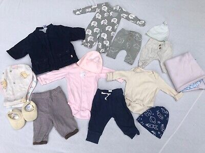 Baby Clothes Lot Newborn 0-3 month Boy Girl Unisex Organic, Carters, Burts Bees