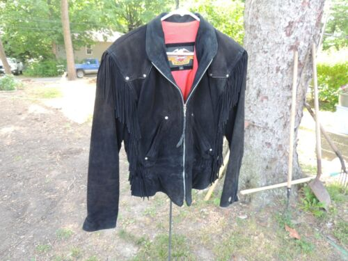 Vintage  HARLEY-DAVIDSON Womens Black suede leather fringed Size M Jacket  USA