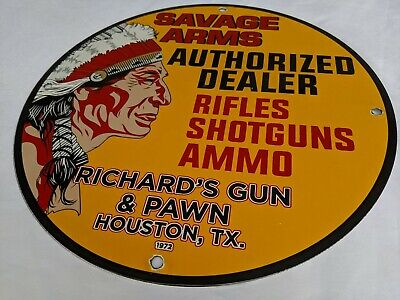 OLD VINTAGE 1972 SAVAGE ARMS PORCELAIN ENAMEL SIGN INDIAN WINCHESTER DEALER TX