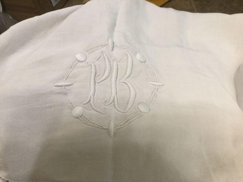 "Antique French Cotton Linen Flat Sheet 90X125"" Queen White Heavy Monogram PB"