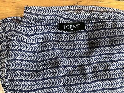"Used, J Crew Scarf long chevron mini navy blue white Lightweight 80"" x 22"" polyester for sale  Fort Thomas"