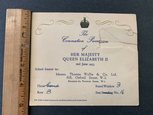 1953 CORONATION PROCESSION OF HER MAJESTY QUEEN ELIZABETH II INVITATION 81921