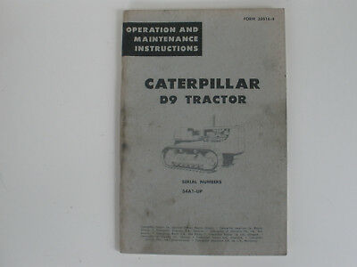 Vintage Caterpillar D9 Operations And Maintenance Manual
