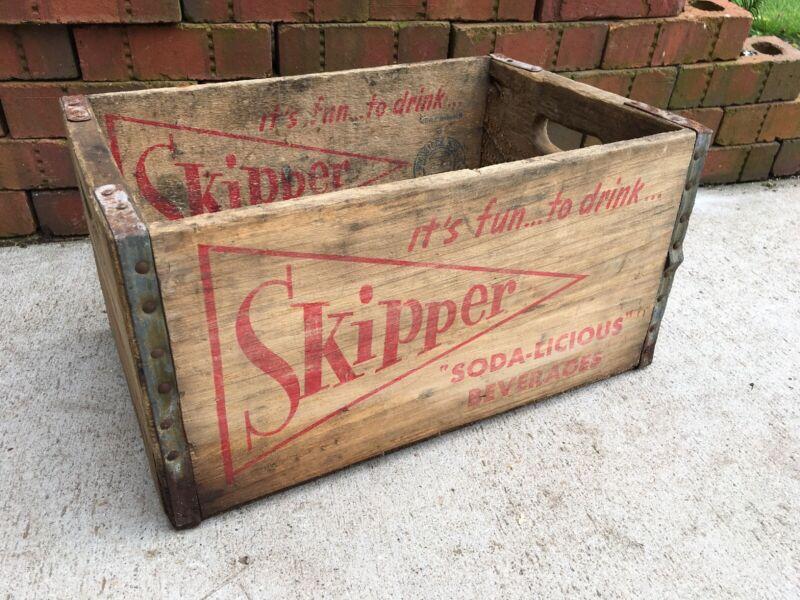 Rare Vintage Wood Soda Crate Skipper Soda Pittsburgh Pennsylvania Roma Bottling