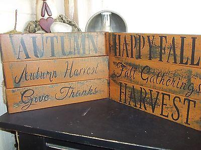 Halloween Wood Blocks (Wood Signs Fall Halloween Decor VTG Prim/Rustic Wood Shelf Sitter Block)