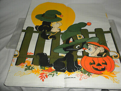 VTG Hallmark 60 inch x 102 inch Stamped PAPER Tablecloth Kittens Pumpkins NEW