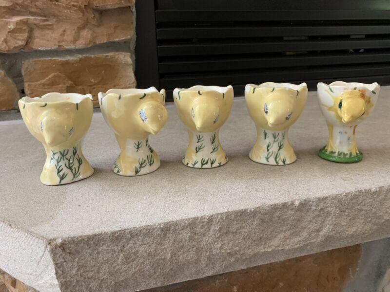 Vintage Ceramic Boiled Egg Holder Chicks set Dated 1965