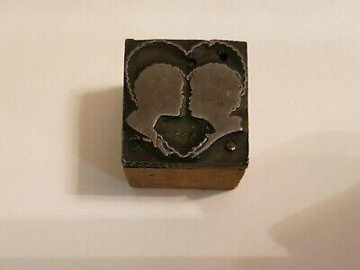 Letterpress Printing Press Block Heart Silhouette Couple Kissing Wedding Love