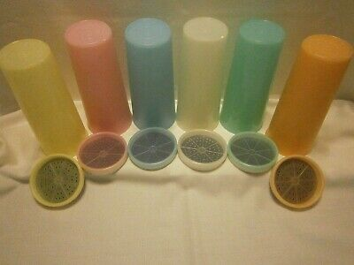LOT OF 6 VINTAGE RETRO TUPPERWARE 16 OZ PASTEL TUMBLERS WITH MATCHING COASTERS